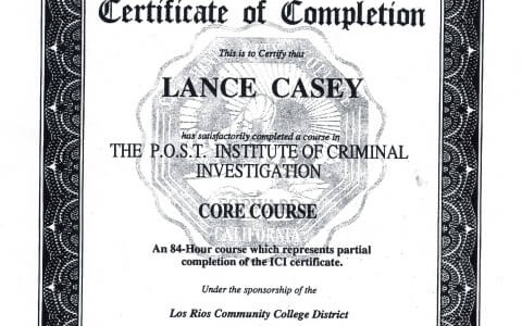 Lance Casey investigator course
