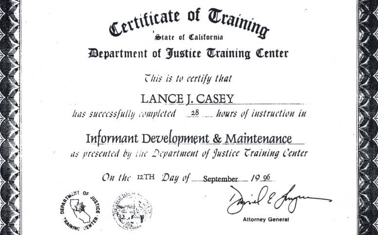 Sacramento county process servers informant development training