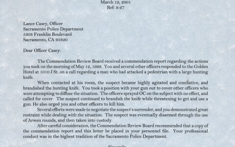 process server in sacramento commendation letter