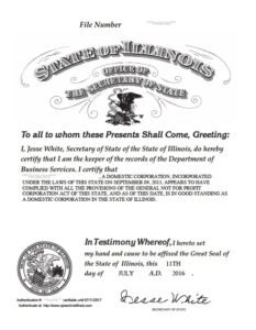 Certificate of good standing illinois