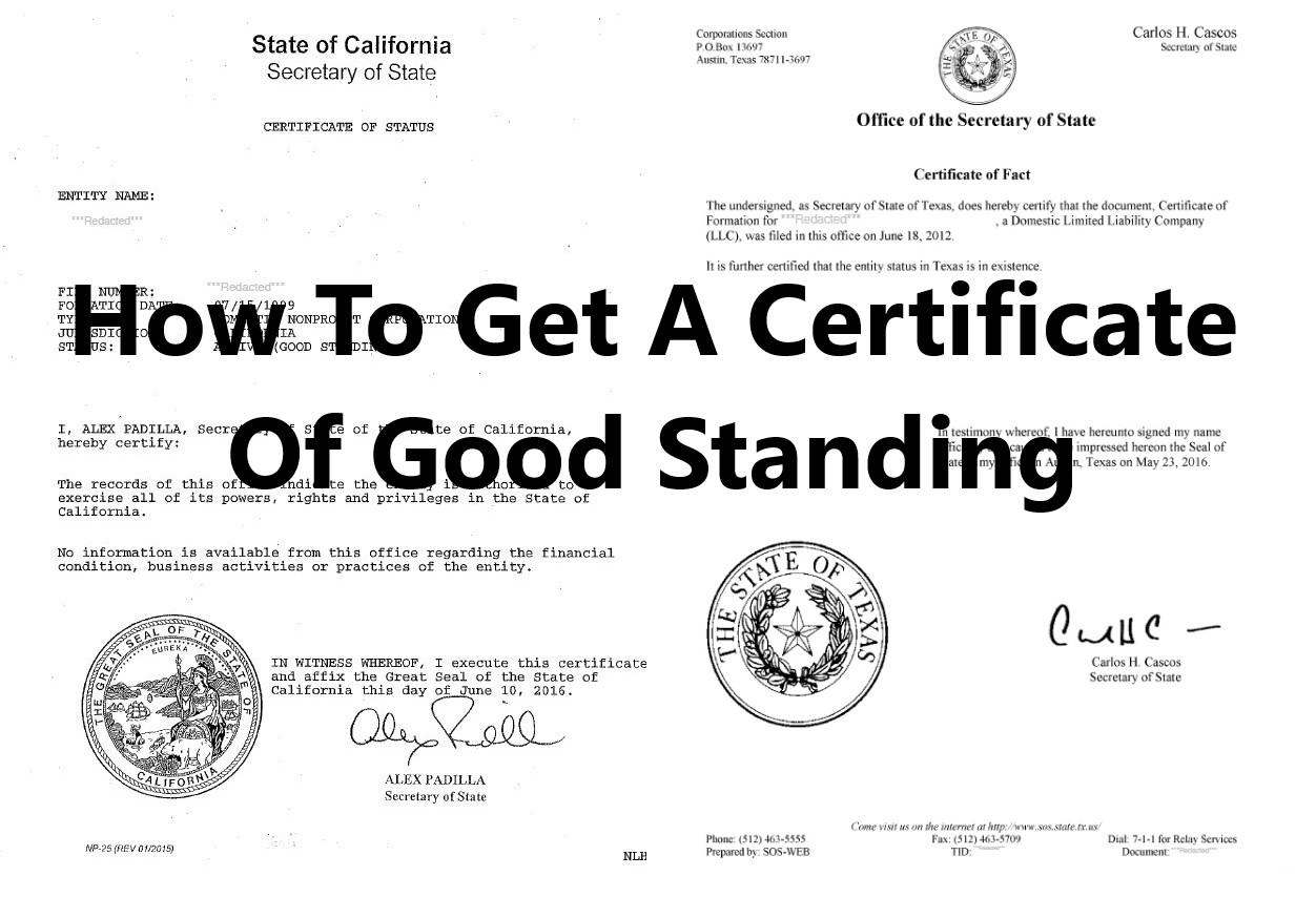 certificate standing secretary state filing
